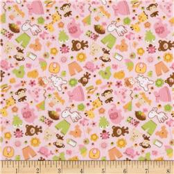 Riley Blake Sweet Baby Girl Flannel Sweet Friends Pink