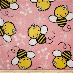 Plush Coral Fleece Tossed Bees Pink Fabric