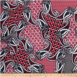 Stretch ITY Jersey Knit Paisley Patch Red