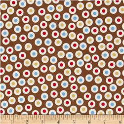 Zoe & Zack Flannel Circle Dots Brown/Blue