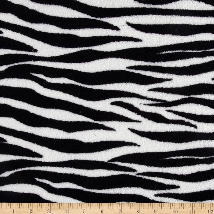 Coral Fleece Wild Zebra Black/White Fabric By The Yard