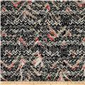 Abstract Zig Zag Dobby Crepe Print Black/Cherry