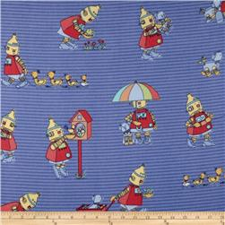 Bot Buddies Flannel Little Robot's Busy Day Blue