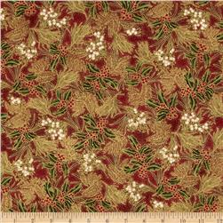 Winter Wishes Pine/Holly Toss Metallic Scarlet/Gold