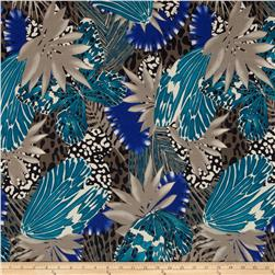 Venice ITY Jersey Knit Botanical Taupe/Blue/Teal/Black Fabric