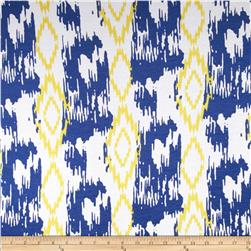 Stretch Rayon Jersey Knit Ikat Print Blue/Yellow/White Fabric