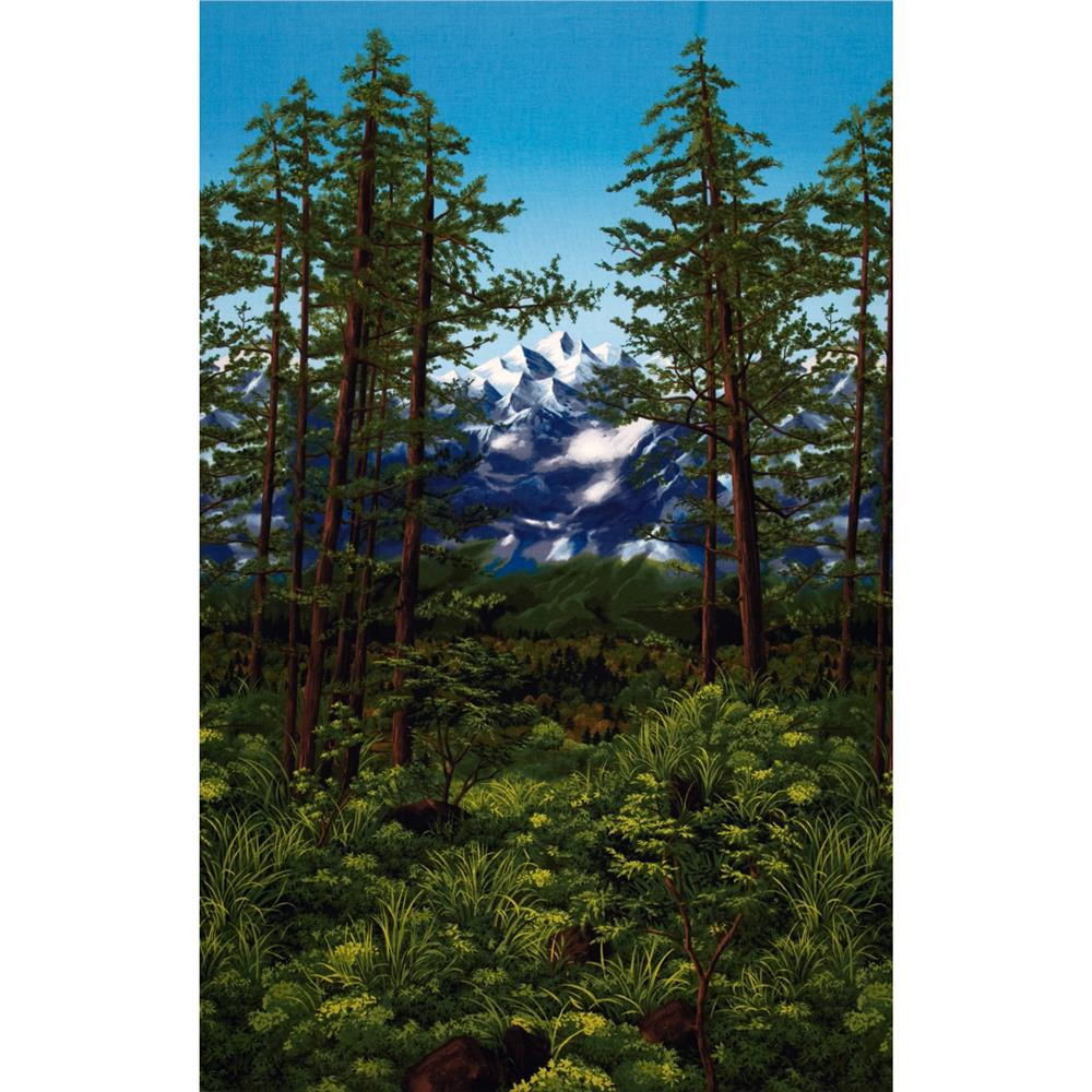 Nature Studies Panel Tall Trees Border Meadow Green