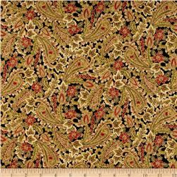 Shades of the Season Metallic Leaf Paisley Autumn Black