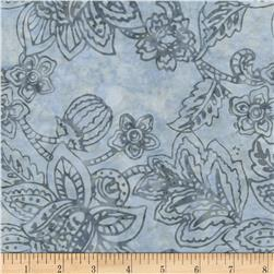 Timeless Treasures Tonga Batiks Bluegrass Jacobean Floral Chill