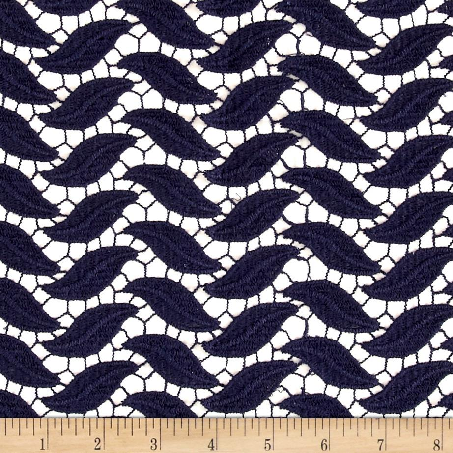Technical Cotton Lace Navy Fabric