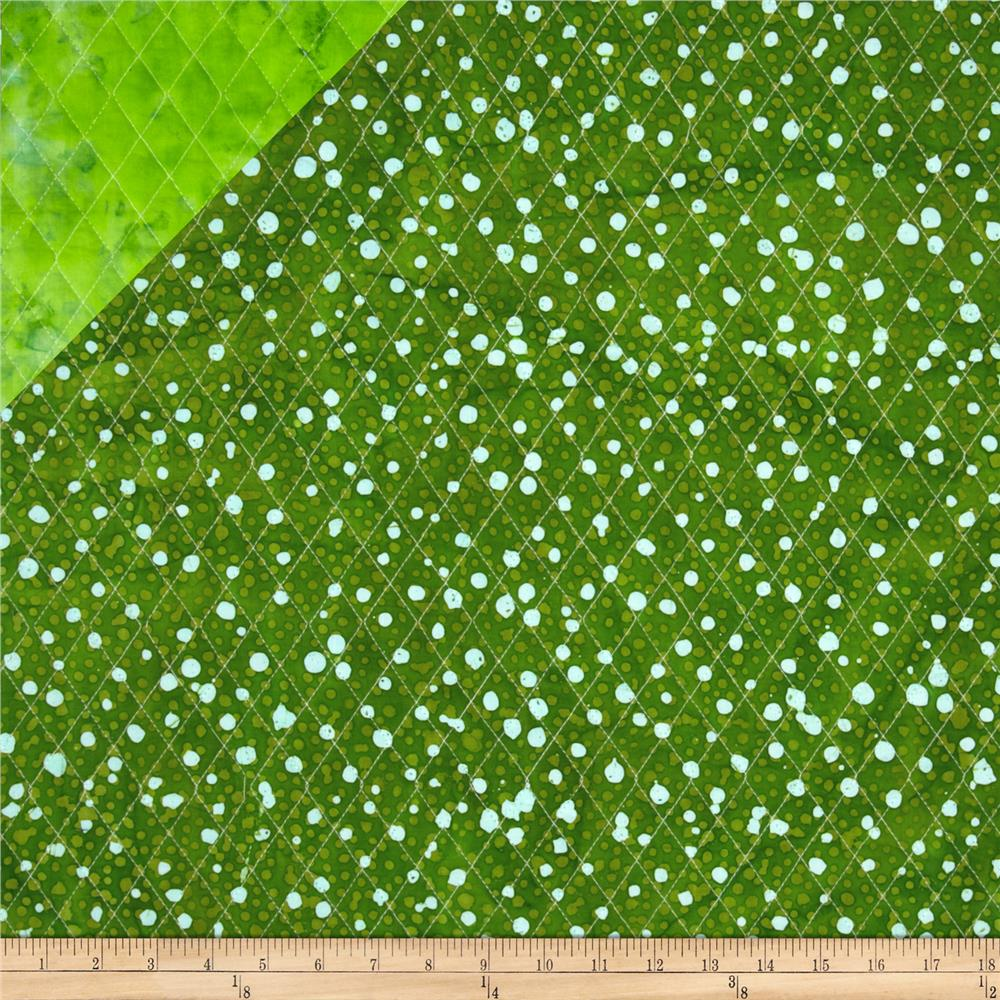 Double Sided Quilted Indian Batik Dot Bright Green/Green