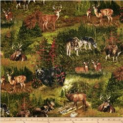 Nature Studies Flannel Animal Scenic Sprig Green Fabric