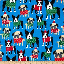 Timeless Treasures Jingle All the Way Flannel Dogs in Sweaters Blue