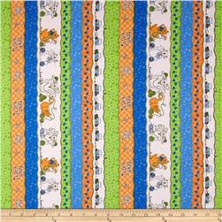 Dog's Life Cat's Life Cat Stripe Blue/Orange Fabric