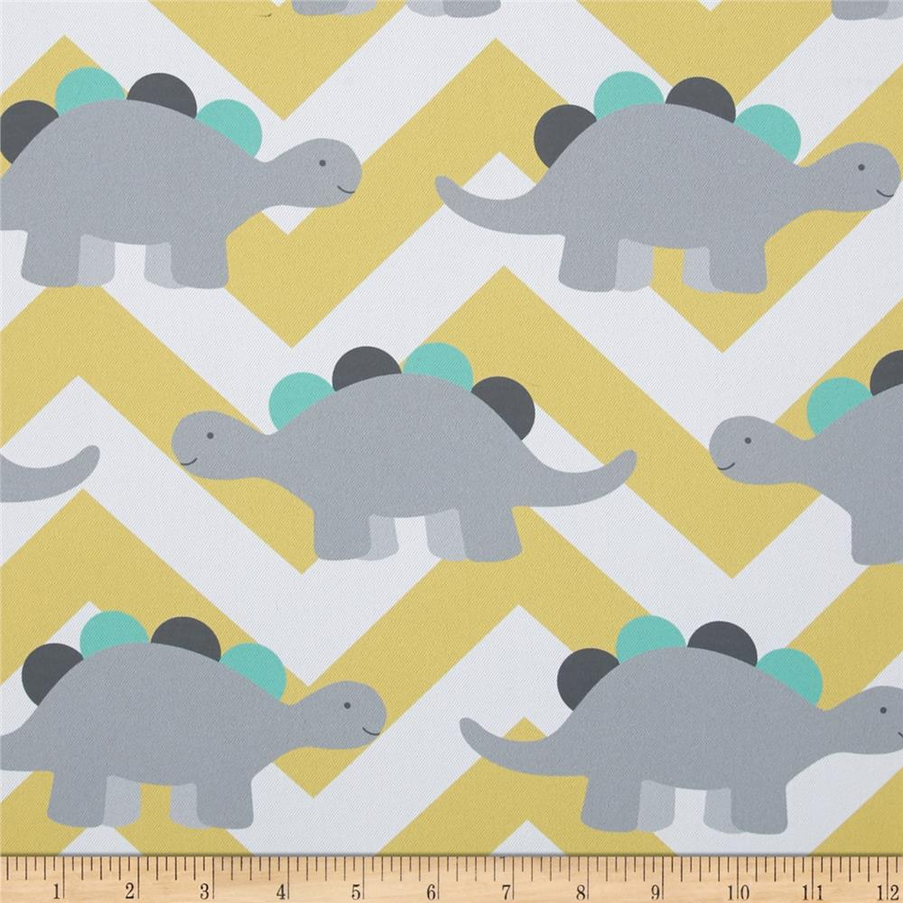 Rca dinosaur chevron blackout drapery fabric grey lemon for Grey dinosaur fabric