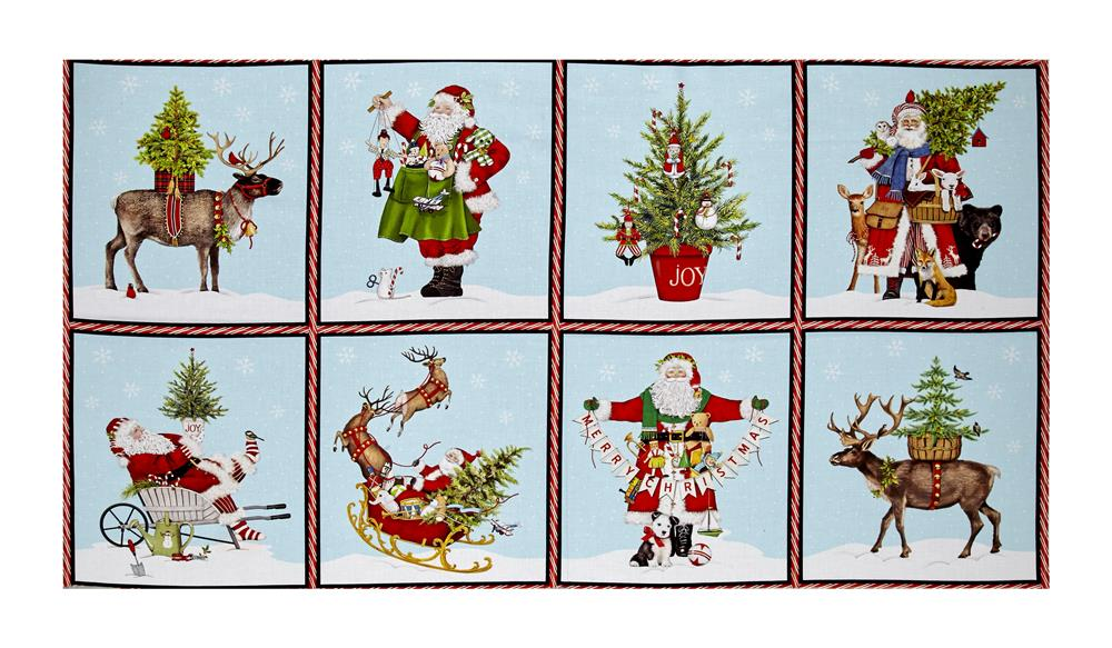 "Kaufman Holly Jolly Christmas Block 23.5"" Panel Digital Print Snow"
