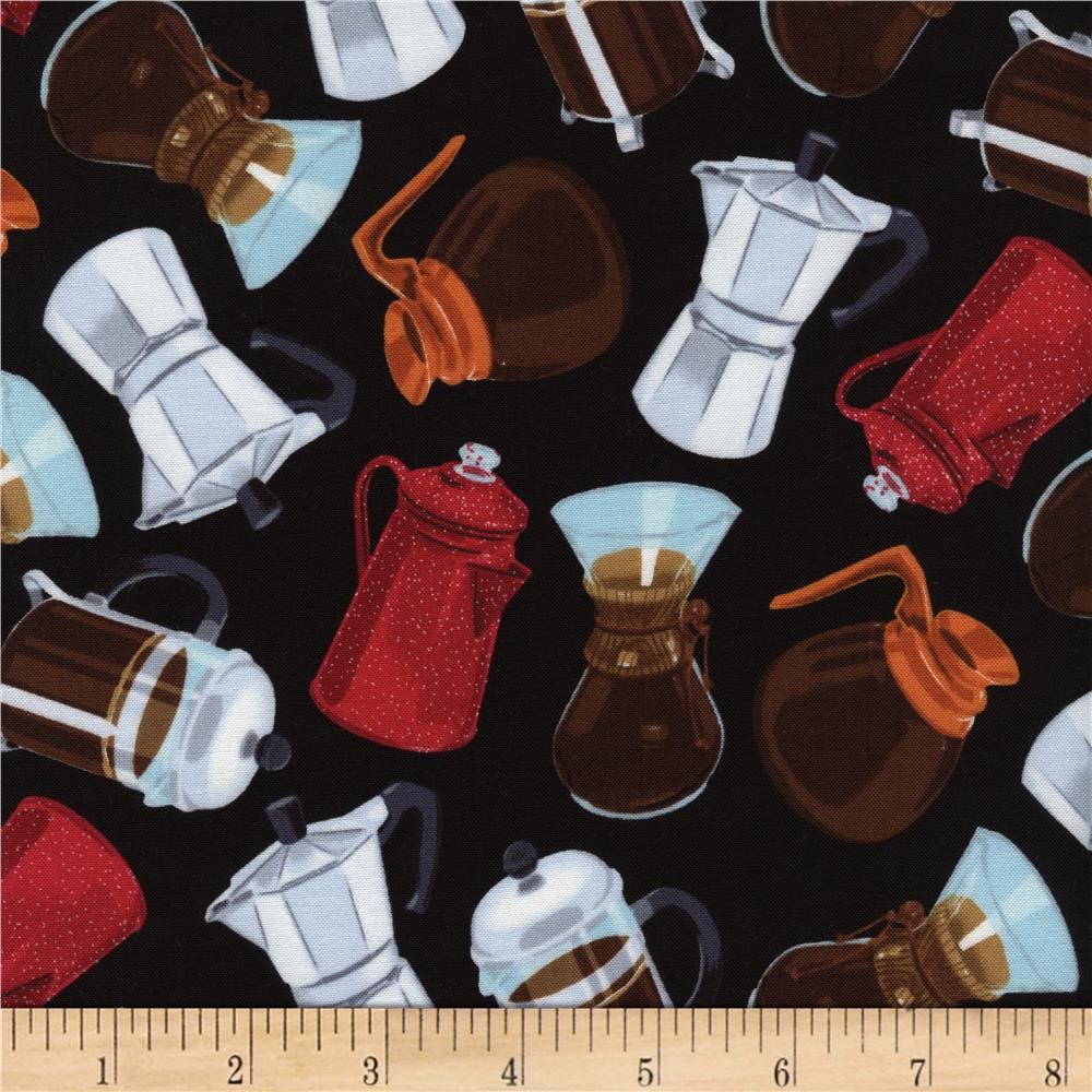 Timeless Treasures Coffee Pot Toss Black