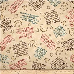Expressions of Faith Tossed Verses/Hearts/Moons/Stars Cream Fabric