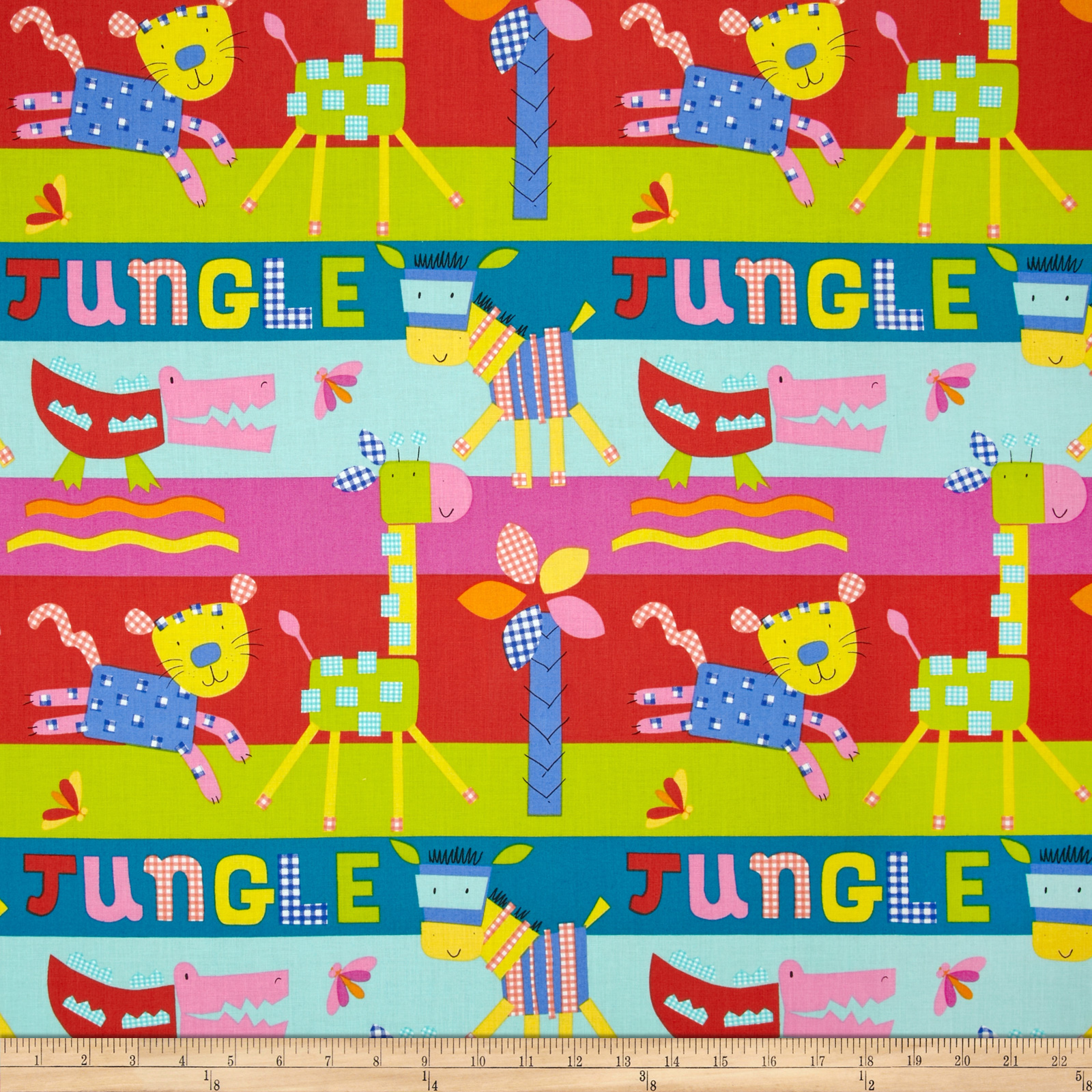 Gingham Jungle Brite Fabric