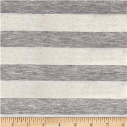 Jersey Knit Light Gray Stripe on White