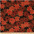 Moda Holly Night Metallic Poinsettias Ebony