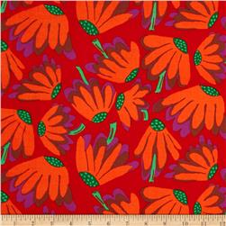 Kaffe Fassett Collective Volcano Lazy Daisy Red Fabric