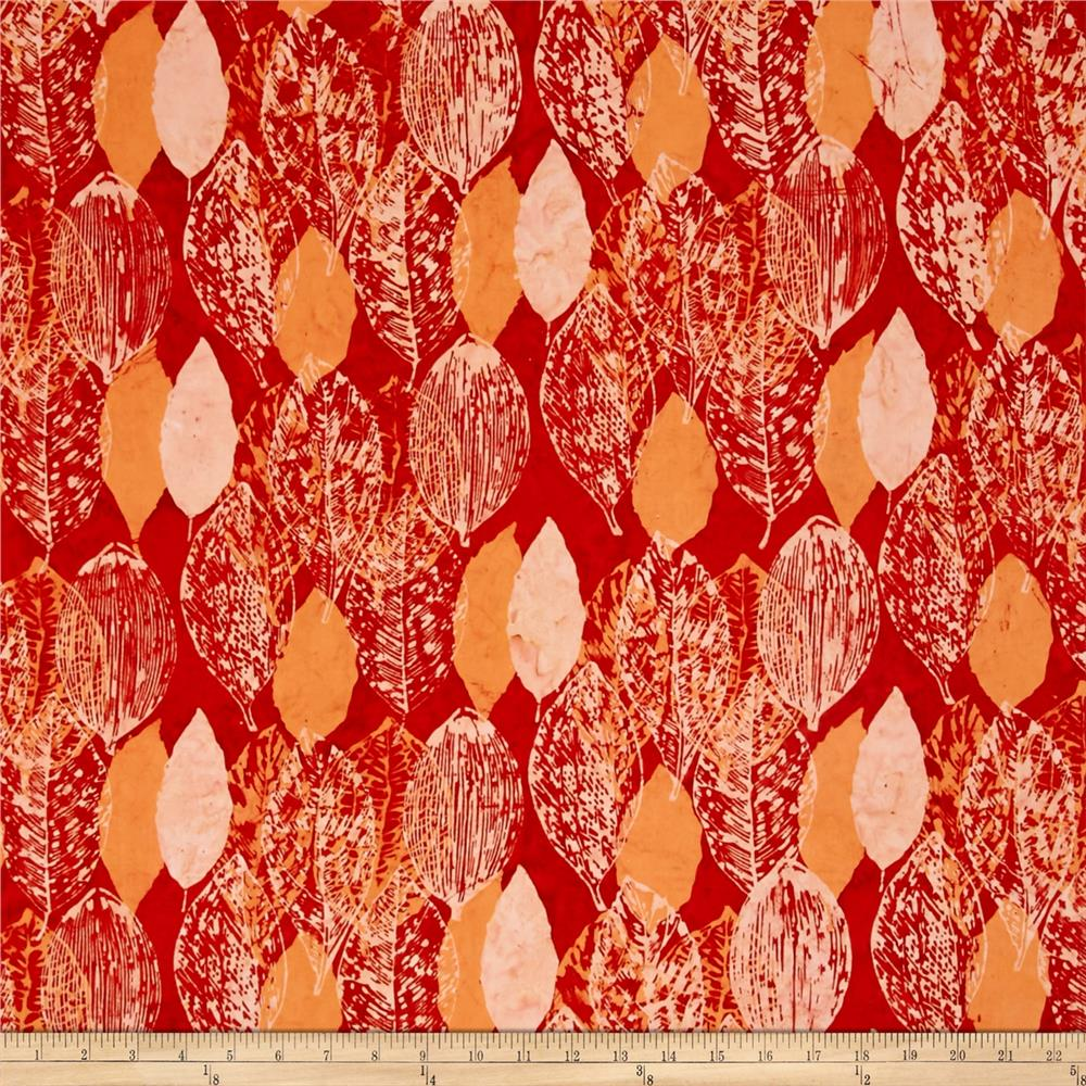 Bali Batiks Handpaints Large Leaves Paprika