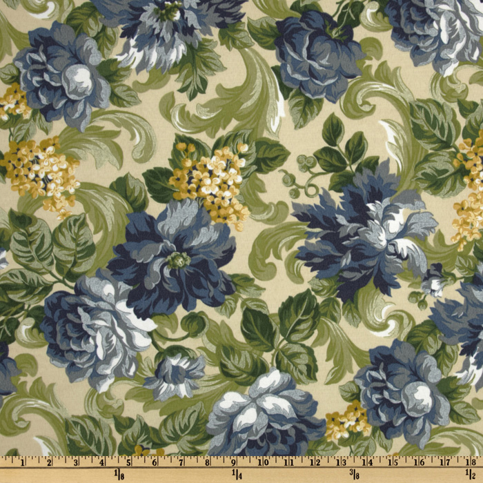 Maco Indoor/Outdoor Garden Scroll Delft Fabric