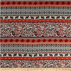 Rayon Challis Bohemian Prints Orange/Black/Ivory