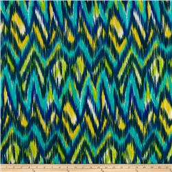 Crepe Georgette Watercolor Zig Zag Aqua/Teal/Yellow