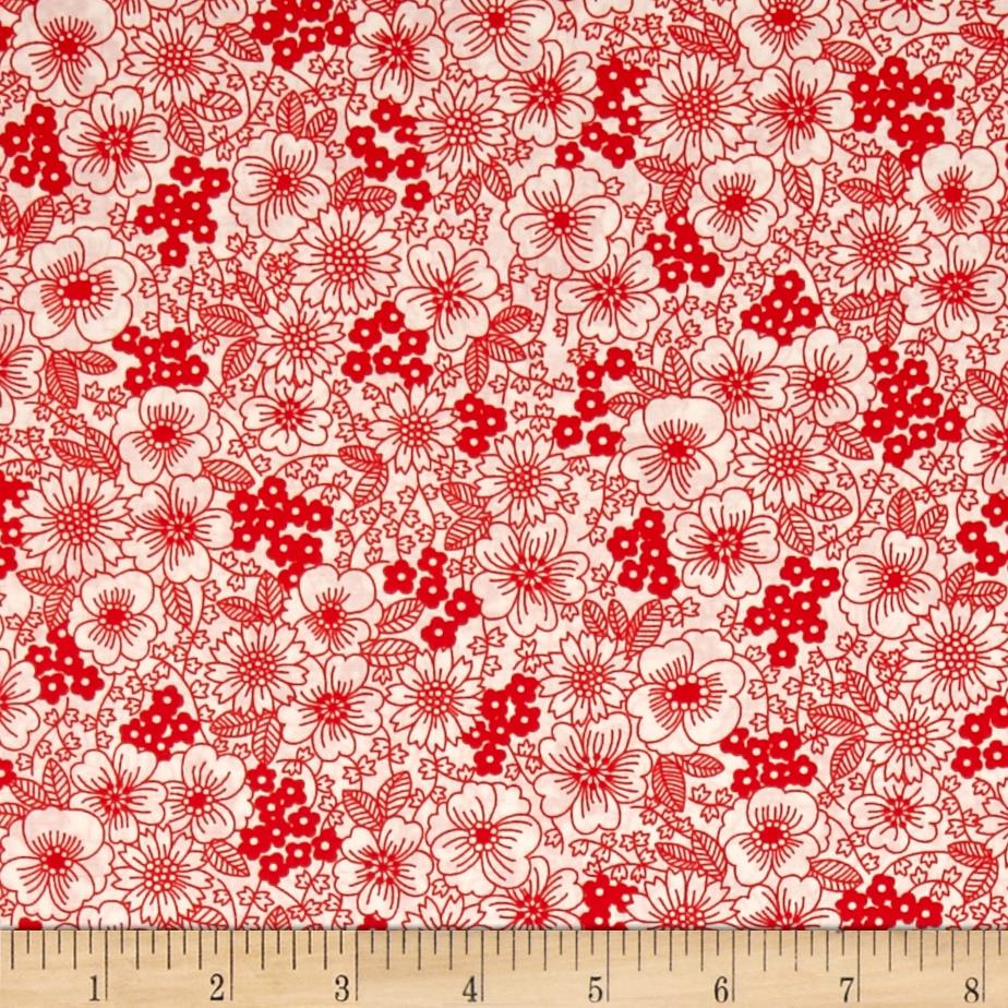 Kaufman London Calling Lawn Sketch Floral Red