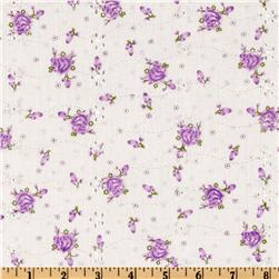 Floral Eyelet Lilac Fabric