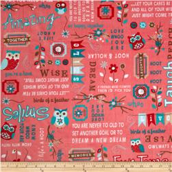 Adorn-it Minky Cuddle Owl Word Coral Fabric