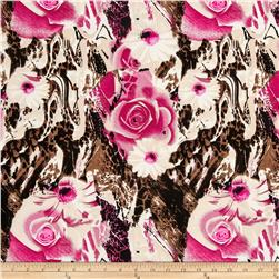 Stretch ITY Jersey Knit Animal Skin Floral Pink/Cream