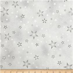 Kaufman Winter Grandeur Metallic Stars Silver