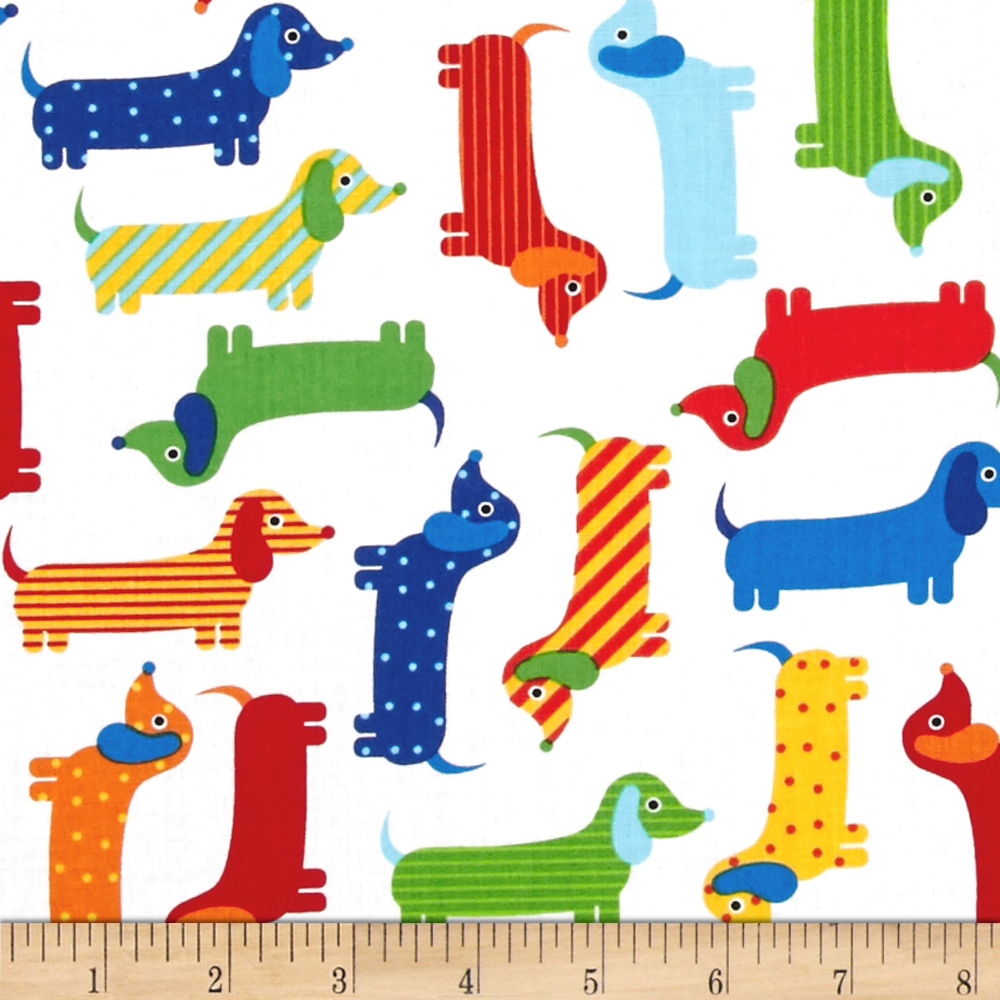 Kaufman Urban Zoologie Weenie Dogs Primary Fabric