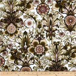 Esmeralda Floral Damask Pewter Brown/Plum