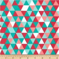 Riley Blake Cotton Jersey Knit Cottage Triangles Teal