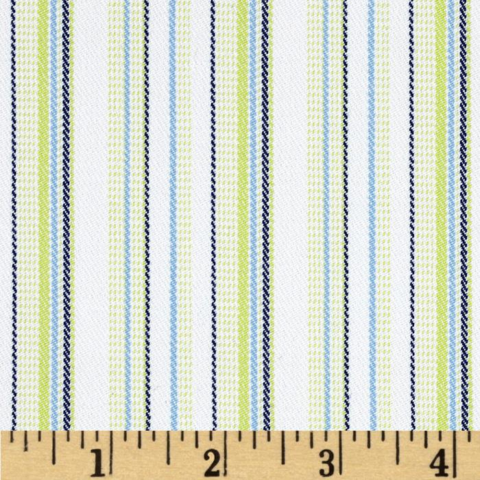 Yarn Dyed Striped Suiting White/Navy/Green