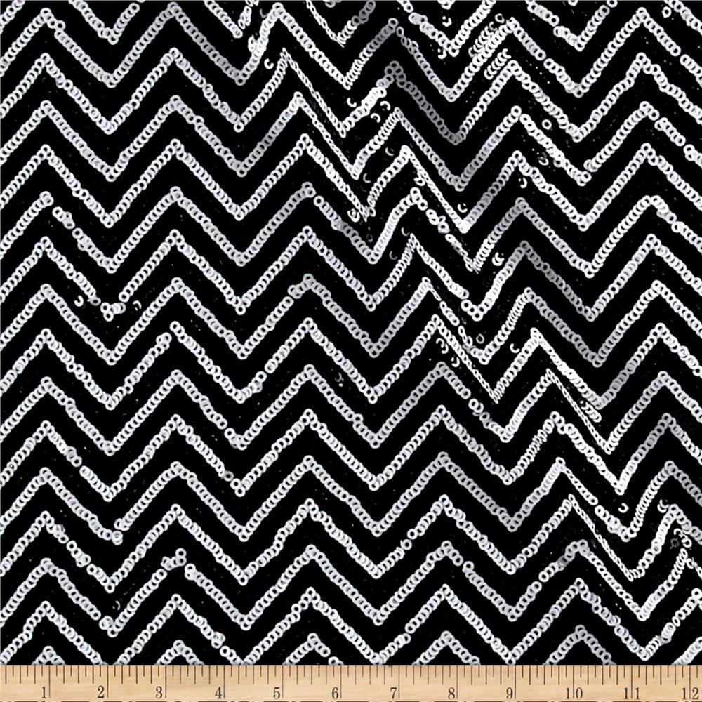 Sequin Jersey Knit Mini Chevron Black/White Fabric