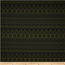 Poly Rayon Ponte Roma Knit Aztec Dark Green/Black