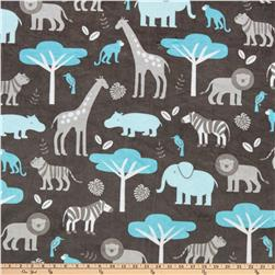 Minky Cuddle Jungle Tales Topaz Fabric