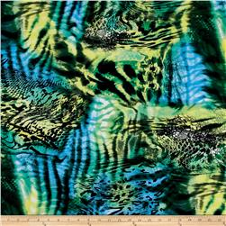 Stretch ITY Knit Abstract Black Green Aqua