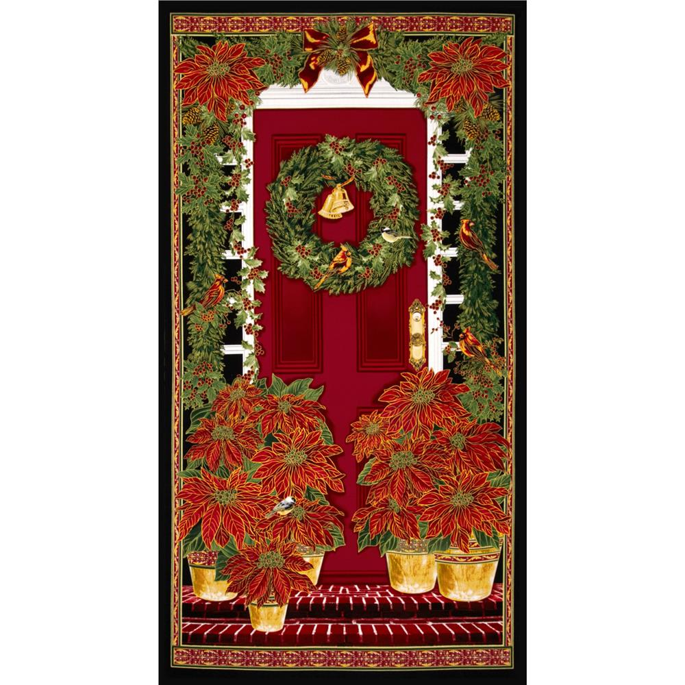 Timeless Treasures Home For the Holidays Christmas Panel Black