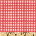 Fleece Backed Tablecloth Gingham Light Red