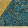 Indian Batik Double Sided Quilted Floral Scroll Brown/Teal