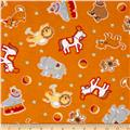 Flannel Circus Animals Orange