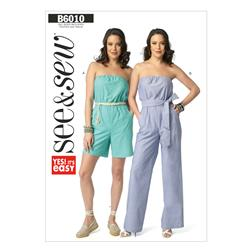 Butterick Misses' Jumpsuit In 2 Lengths, and Sash Pattern B6010 Size 0A0