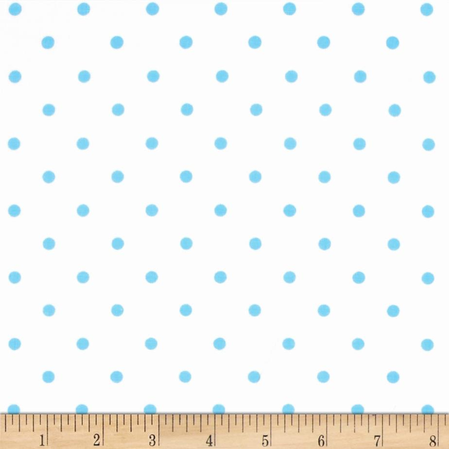 Stretch Poplin Dots White/Baby Blue