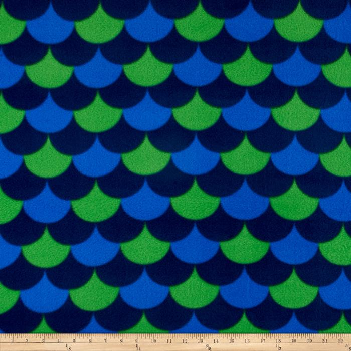 Simply Waves Pop Fleece Navy/Kelly Green Fabric By The Yard